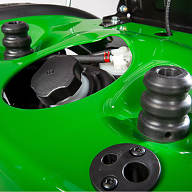 Rubber isolators under the seat give a smoother ride