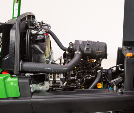 Overall engine view from left side of machine