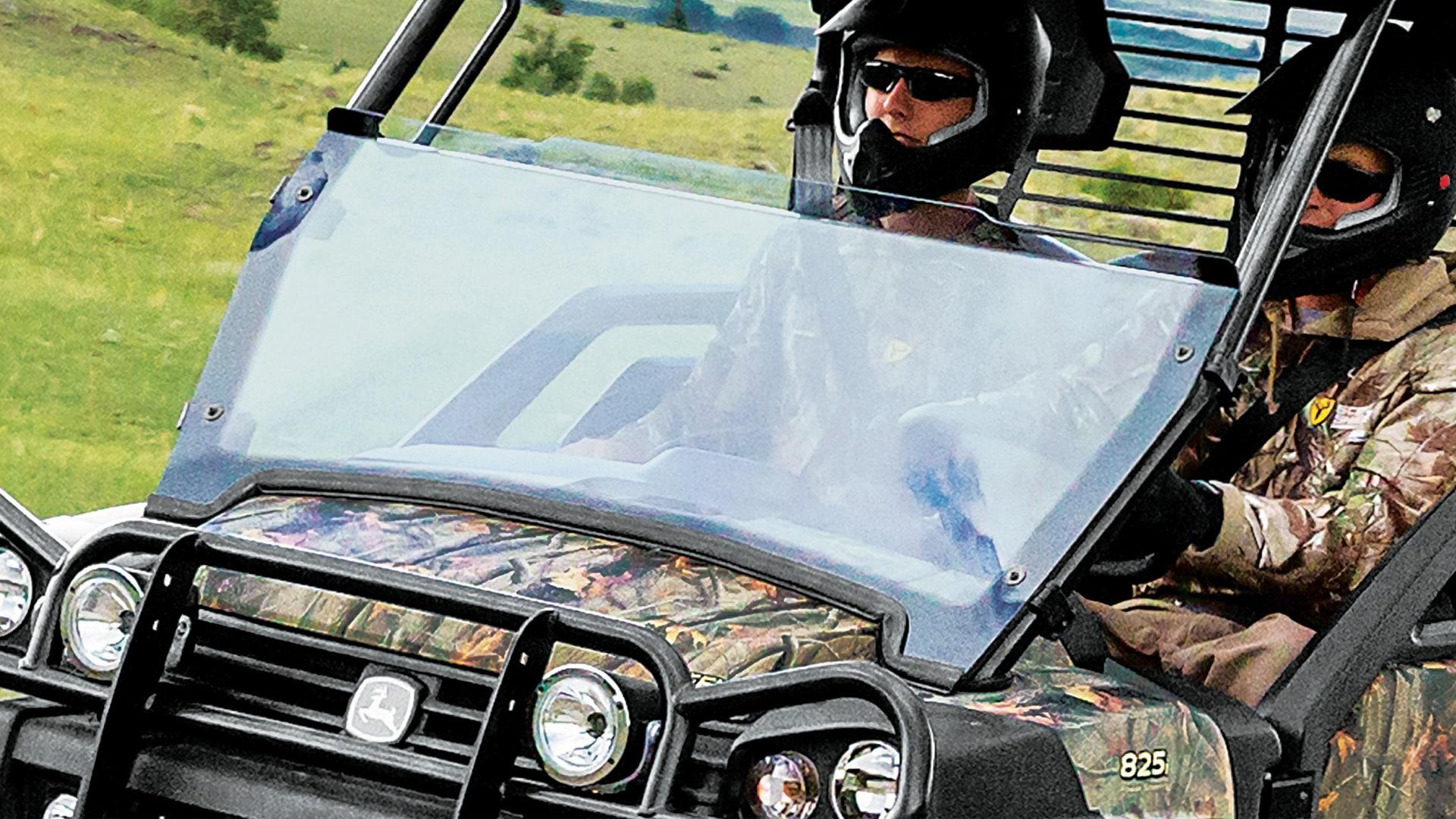closeup on windshield on a gator