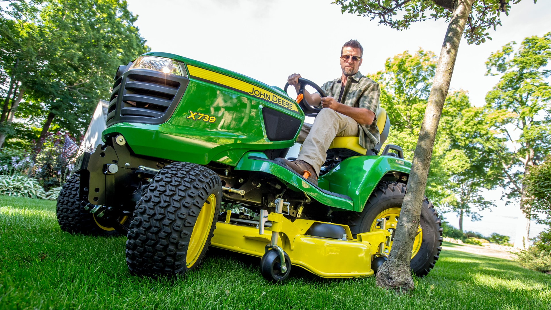 dramatic angle view of lawn tractor on lawn